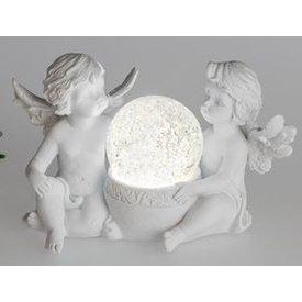 Engelspaar mit einer LED Kugel, matt weiß, 14 cm