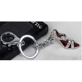 Schlüsselanhänger Damenschuh High Heel rot mit Strasssteinen