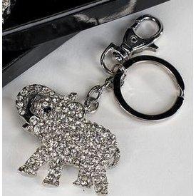 Schlüsselanhänger Elefant mit Strasssteinen verziert