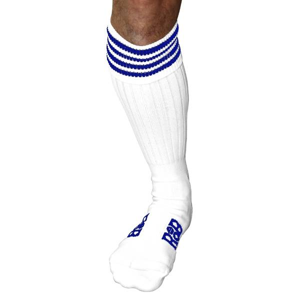 RoB RoB Boot Socks wit met blauwe strepen