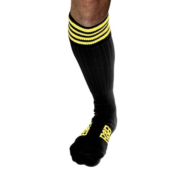 RoB RoB Boot Socks zwart met gele strepen