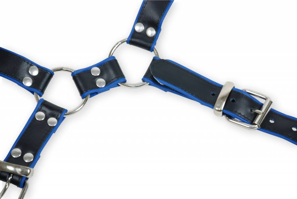 RoB Y-Front Brust Harness schwarz mit blau