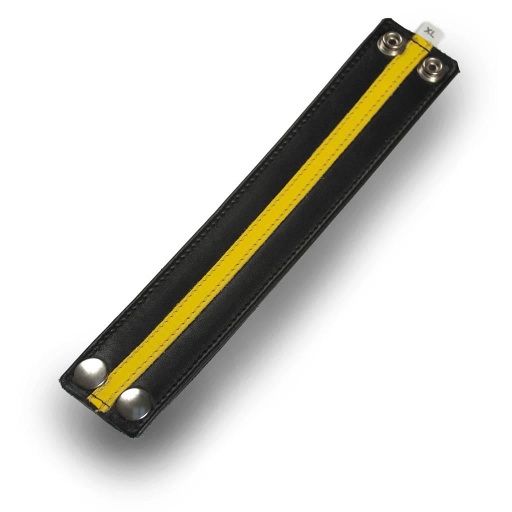 RoB Leather Wristband Yellow Stripe