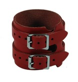 RoB Leather Wristband, 2 Buckles, Red
