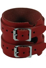 RoB Leder Armband 2 Schnallen, Rot