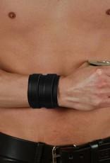 RoB Leren Polsband met 2 gespen, zwart