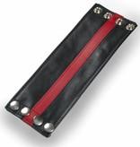 RoB Leren Polsband met rode streep en geldvak
