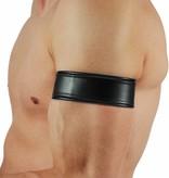 RoB Leder Bicepsband Schwarz mit Lederriemen