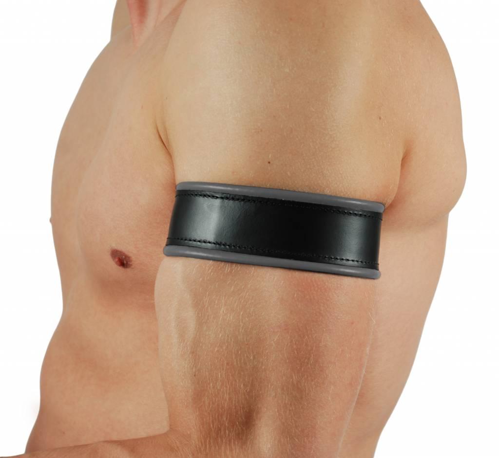 RoB Leren Bicepsband zwart/grijs met vetersluiting