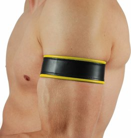 RoB Leather Bicepsband Black/Yellow with Laces