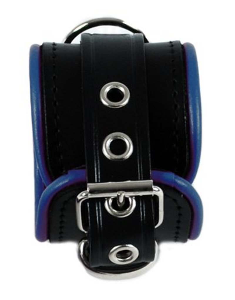 RoB Leather Wrist Restraints Small Blue Piping