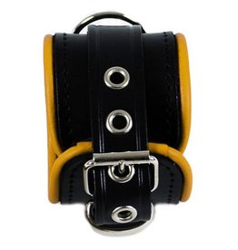 RoB Leather Wrist Restraints Small Yellow Piping