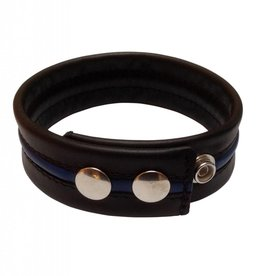 RoB Leather Bicepsband Black with Blue Piping and Press Studs