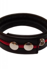 RoB Leather Bicepsband Black with Red Piping and Press Studs