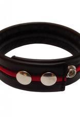RoB Leren Bicepsband zwart/rood met drukknopen