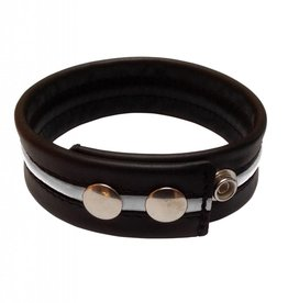 RoB Leather Bicepsband Black with White Piping and Press Studs