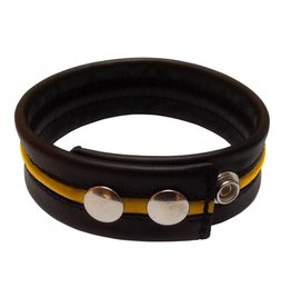 RoB Leather Bicepsband Black with Yellow Piping and Press Studs