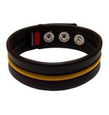 RoB Leder Bicepsband Schwarz/Gelb mit Druckknoepfen