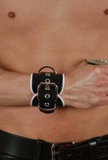 RoB Leather Wrist Restraints White Piping
