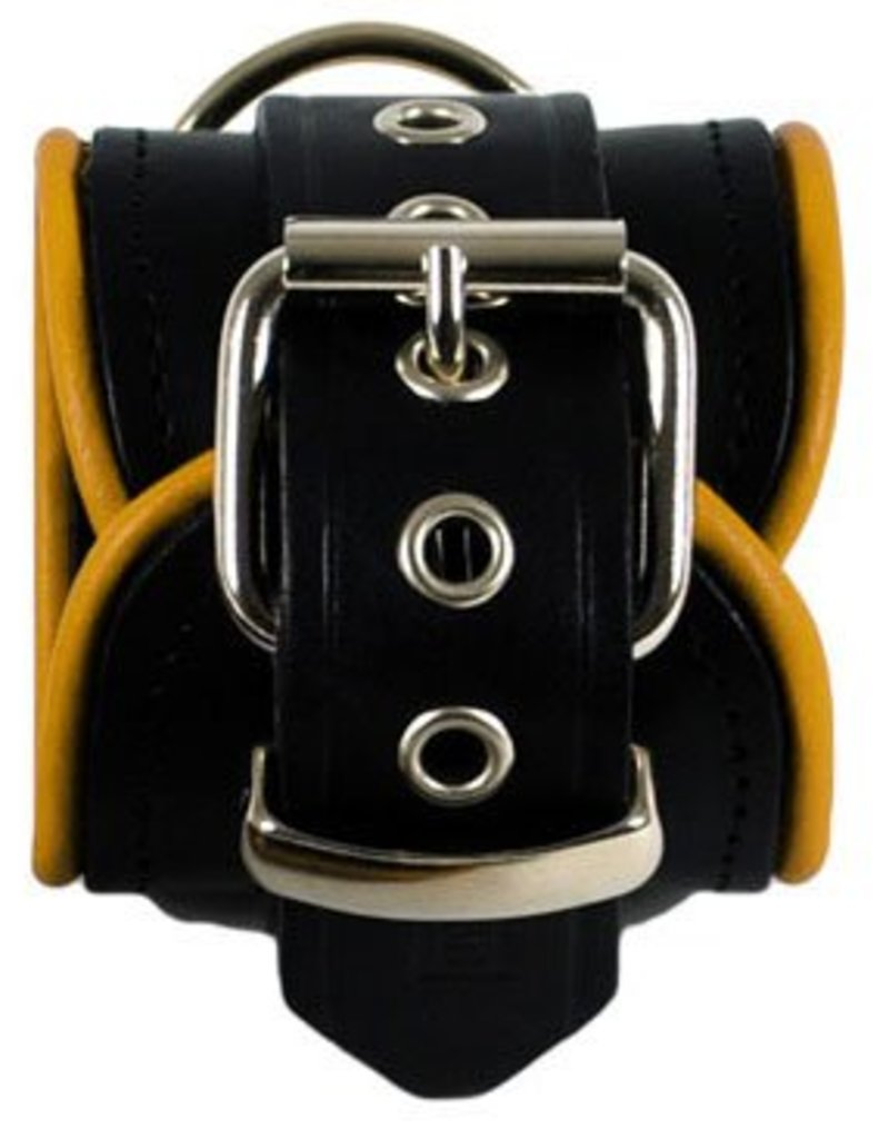 RoB Leather Wrist Restraints Yellow Piping