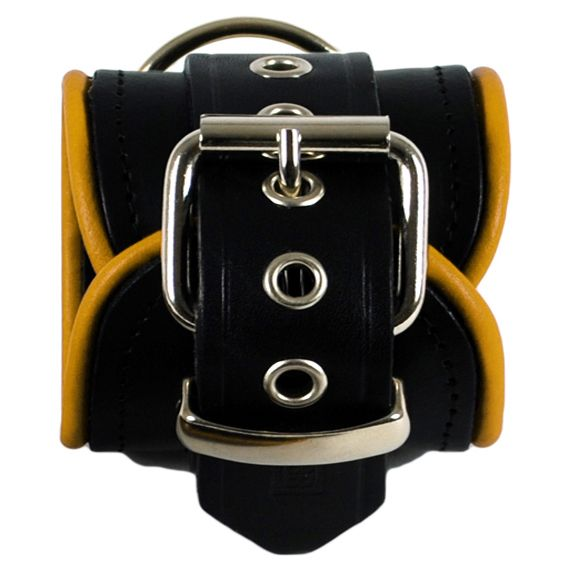 RoB Leather Ankle Restraints Yellow Piping