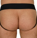 RoB Leather Jockstrap with Front Zip and red stripes