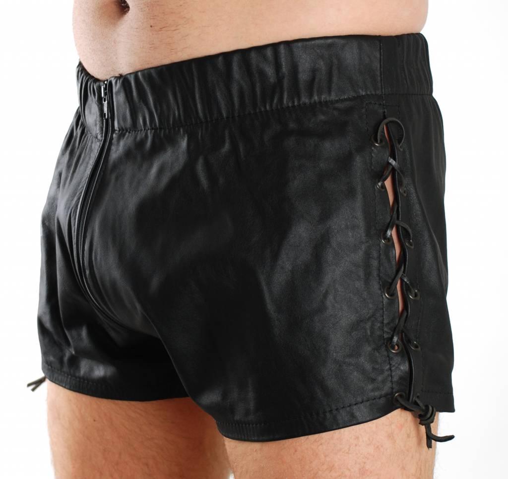 RoB Leren shorts met veters en rits