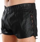 RoB Leren shorts met veters en doorlopende rits