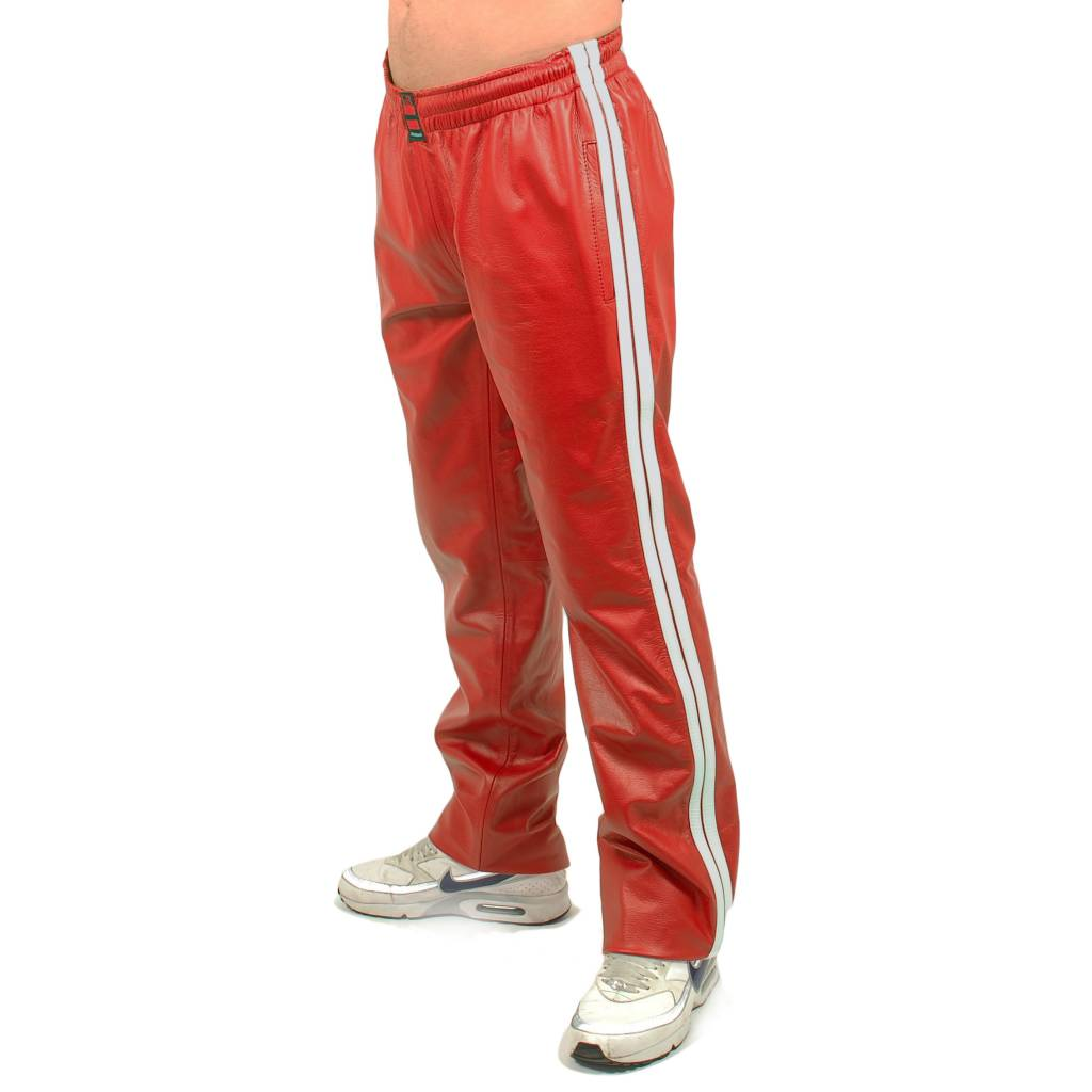 RoB Red Jogging Pants with White Stripes