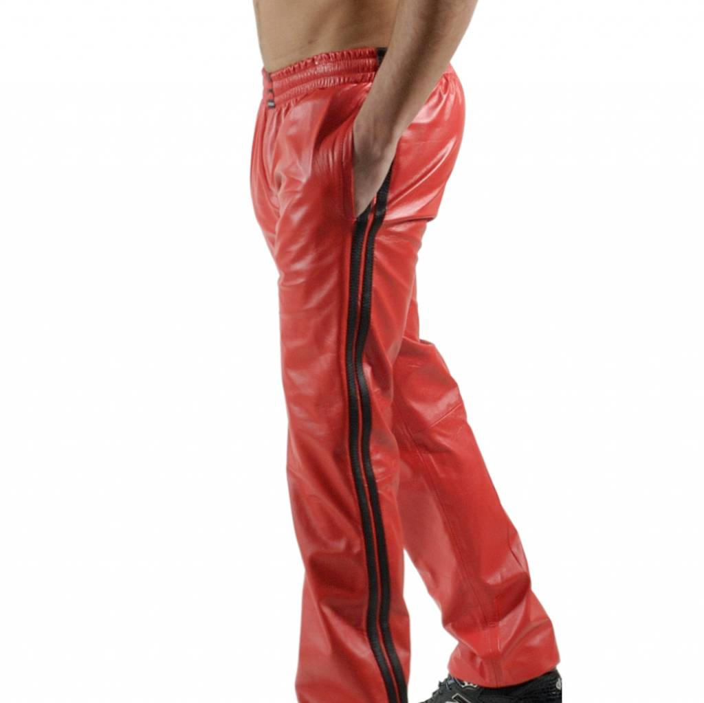 RoB Red Jogging Pants with Black Stripes