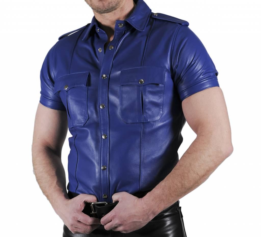 RoB Lederhemd Weiches Leder Blau