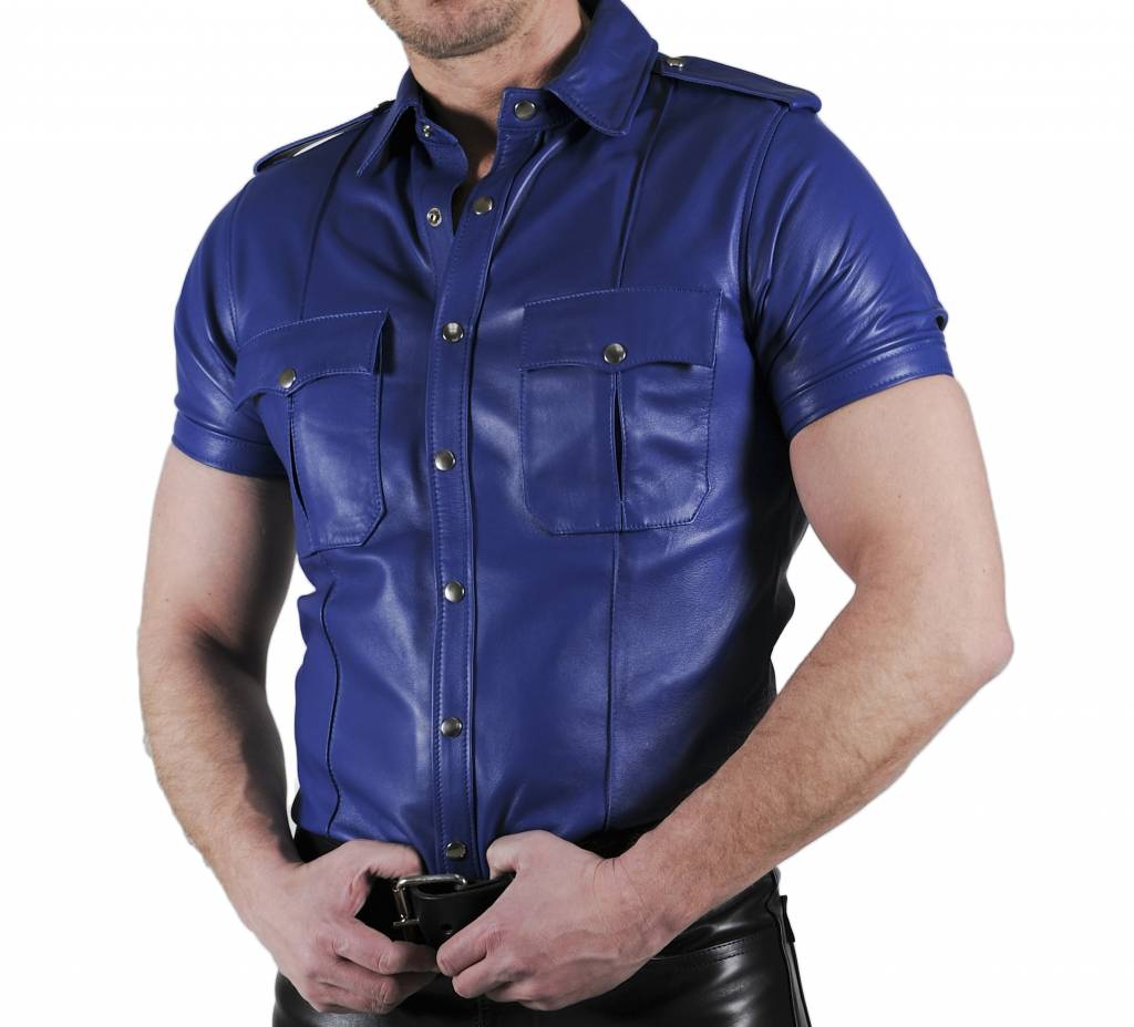 RoB Police Shirt Zacht Leer Blauw