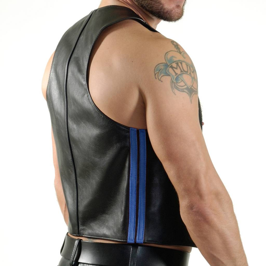 RoB Bartender waistcoat with double blue stripes