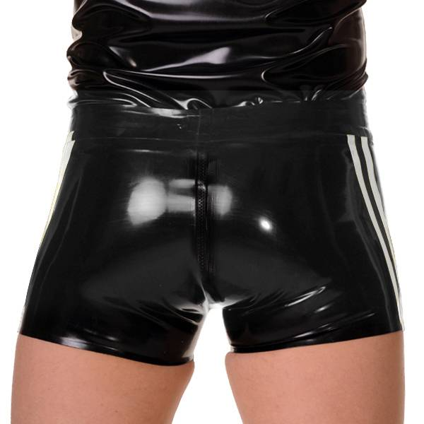 RoB Rubber Full Zip Shorts with double White Stripes