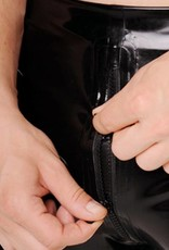 RoB Rubber Shorts met doorlopende rits en blauwe strepen