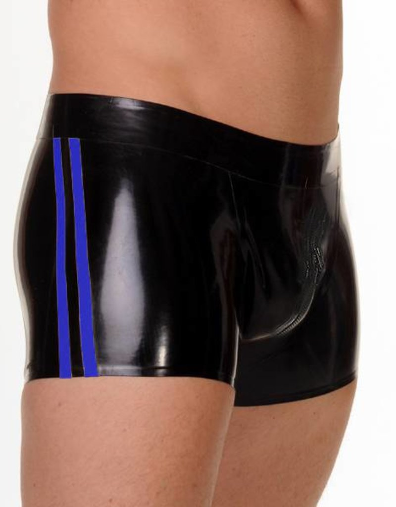 RoB Rubber Full Zip Shorts with double Blue Stripes