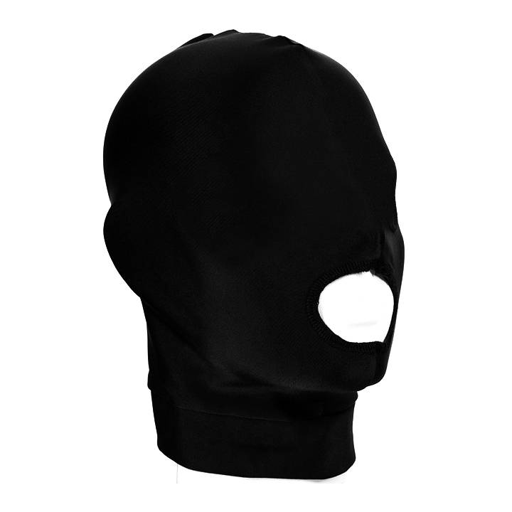 Spandex Hood with open mouth and closed eyes