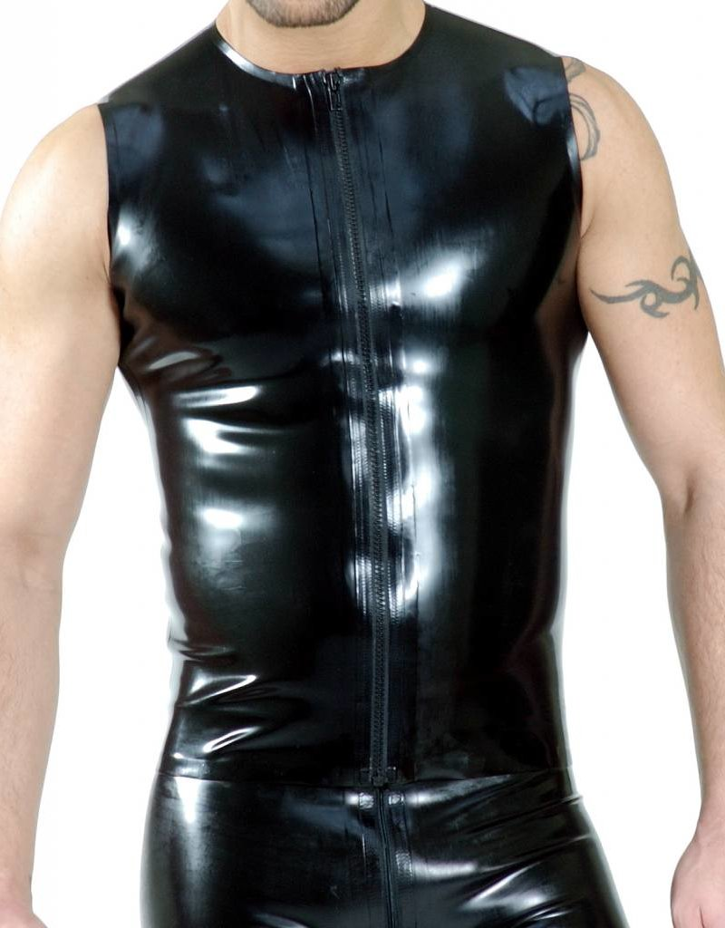 RoB Rubber sleeveless T-shirt with front zip