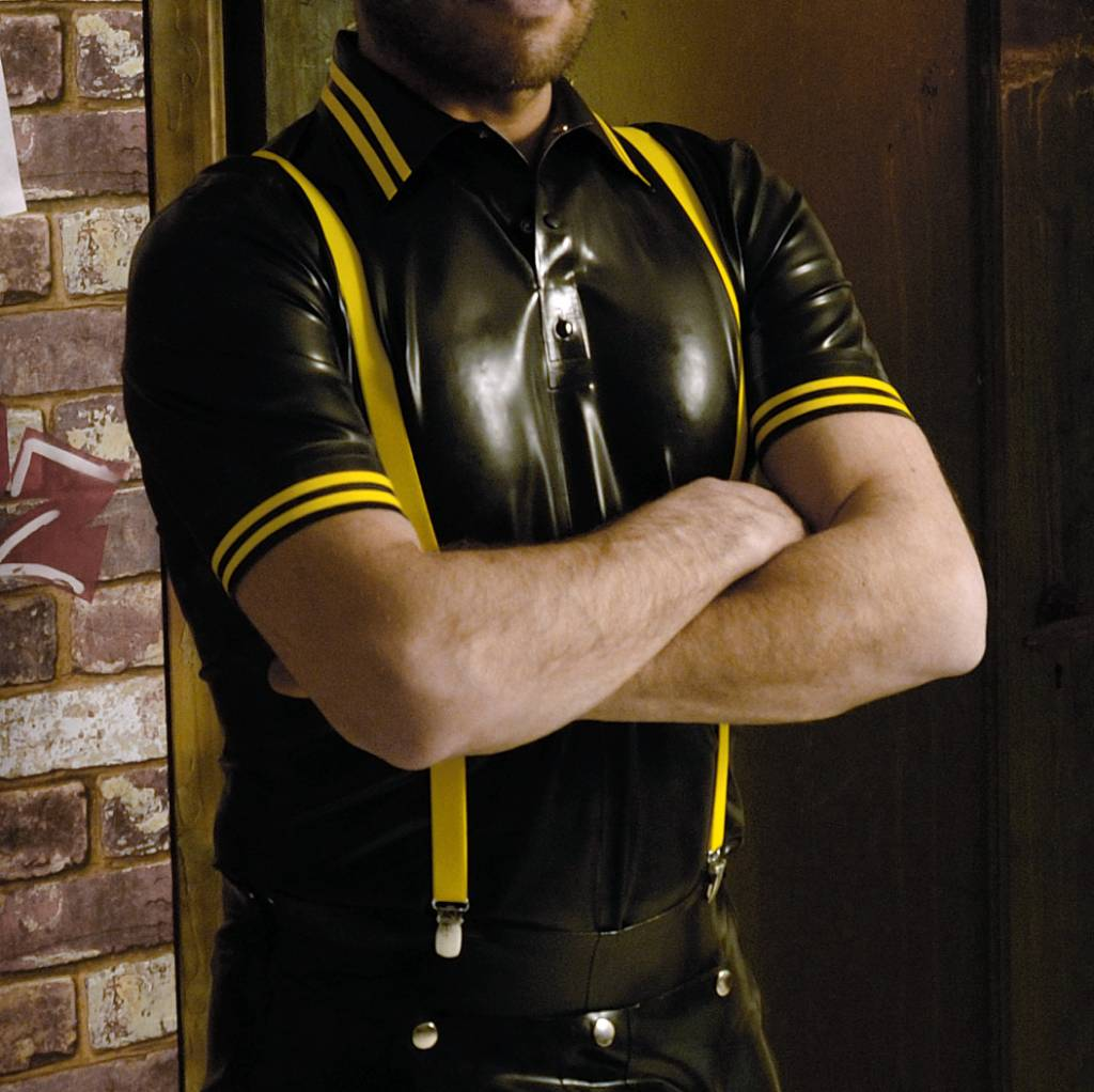RoB Rubber Polo Shirt with yellow stripes