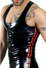 RoB Y-Back Singlet with Front Zip and Red Stripes