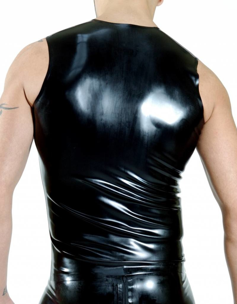 RoB Rubber sleeveless T-shirt with front zip and red stripes