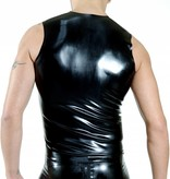 RoB Rubber sleeveless T-shirt with front zip and blue stripes