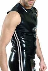 RoB Rubber sleeveless T-shirt with front zip and white stripes