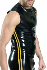RoB Rubber sleeveless T-shirt with front zip and yellow stripes