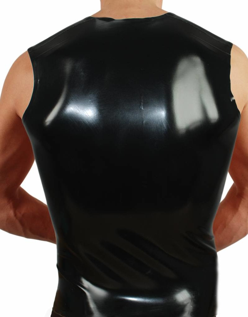 RoB Rubber sleeveless T-shirt with red stripes