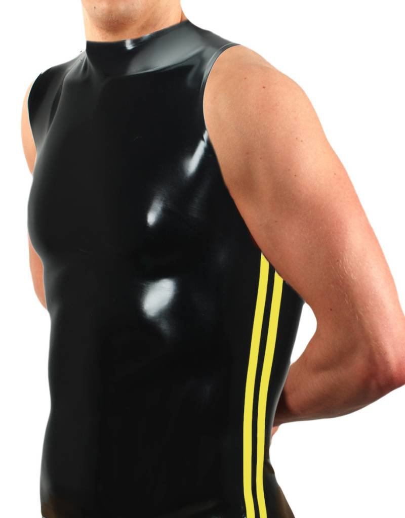 RoB Rubber sleeveless T-shirt with yellow stripes