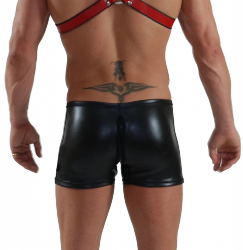 Neoprene Short mit Reissverschluss Schwarz und rotem Pouch