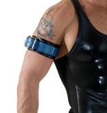 RoB Leren Bicepsband met gesp, zwart met blauw