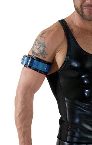 RoB Leder Bicepsband mit Schnalle, Blau