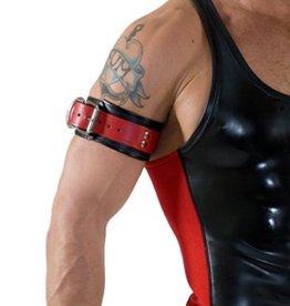 RoB Leren Bicepsband met gesp, zwart met rood